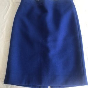 JCrew SZ 6 No.2 Pencil Skirt Royal Blue 100% Wool
